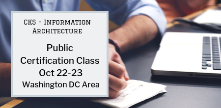Registration is open for the next Public Certification CKS Class in Information Architecture