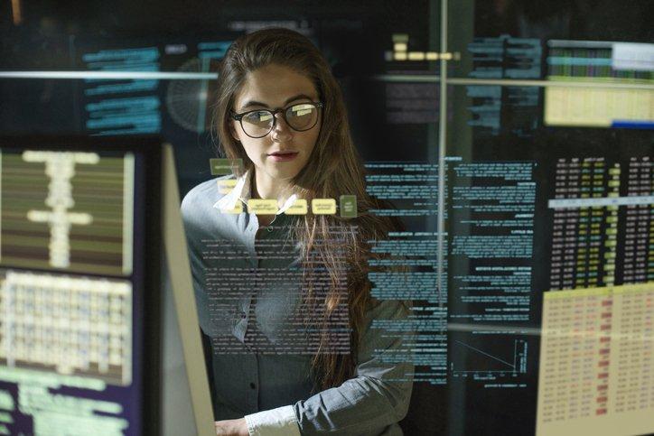 Monitors woman see thru data