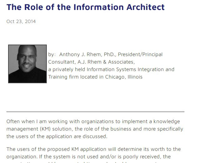 The Role of the Information Architect